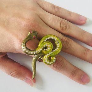 BETSEY JOHNSON Snake Ring Metal Crystals